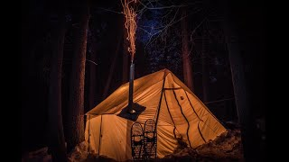 Backcountry Camping in a Canvas Wall Tent, Cooking on a Wood Stove & Bad Weather Trek With a Baby
