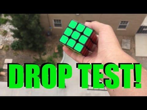 Rubik's Cube Drop Test! (100 FEET)   Slow Motion