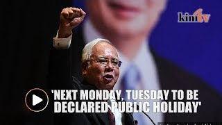 Najib announces five toll-free days for Raya, two day holiday after elections