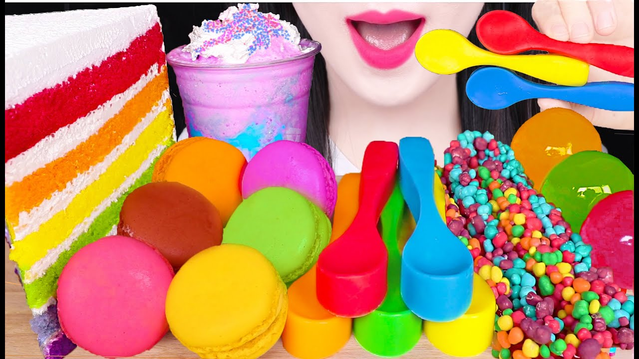 ASMR RAINBOW FOOD *EDIBLE SPOON, UNICORN FRAPPE, RAINBOW CAKE, NERDS ROPE GUMMY 무지개 먹방 EATING SOUNDS