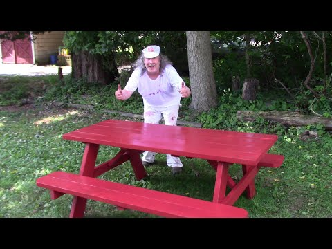 redwood-staining-a-picnic-table-at-home-#withme