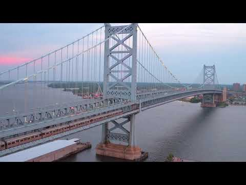 PATCO Benjamin Franklin Bridge - Philly By Drone