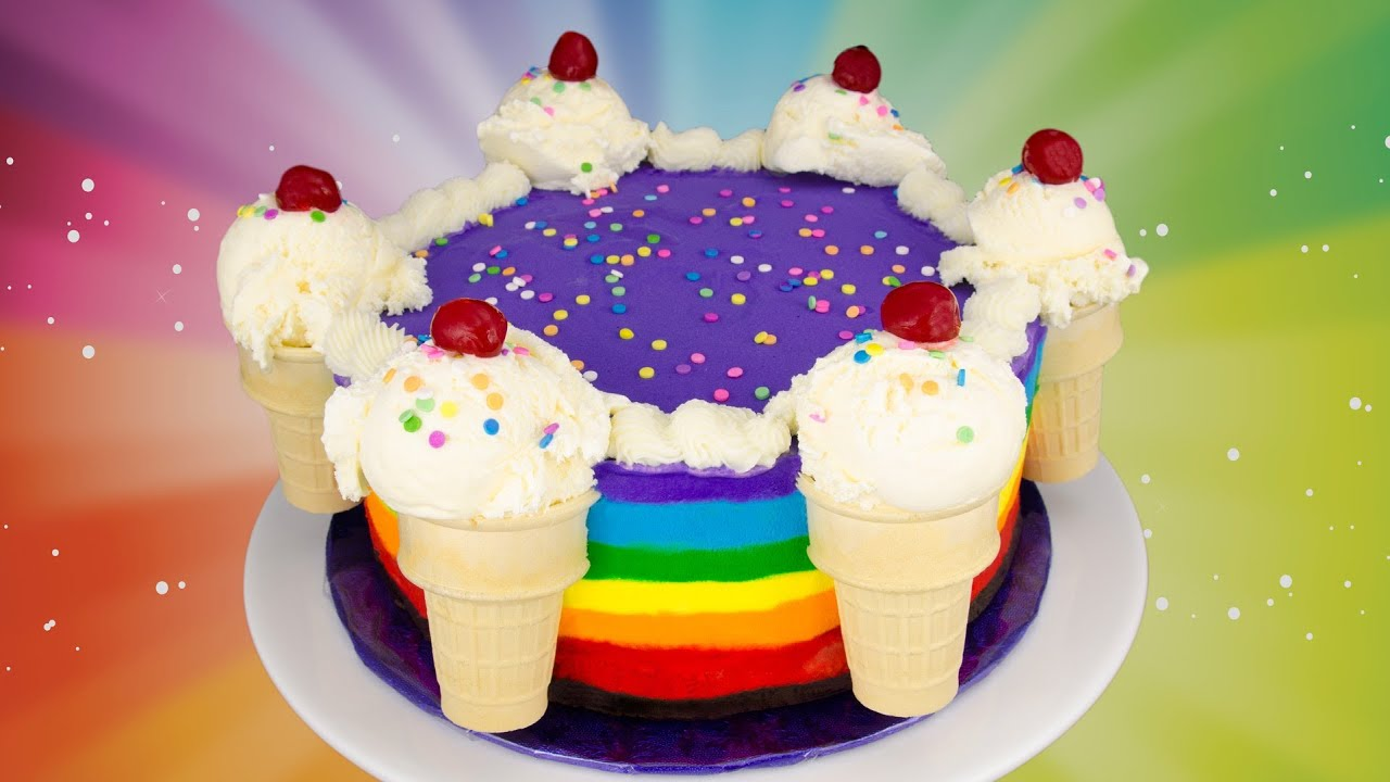 Rainbow Ice Cream Cake Recipe How To Make A Rainbow Ice Cream Cake From Cookies Cupcakes And Cardio Youtube