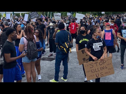 Atlanta protest march this morning at King Center in honor of George Floyd funeral