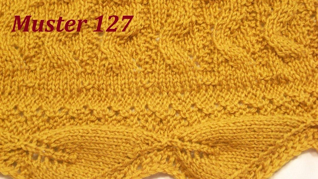 Muster 127 für Borte*Stola*Schal*Rock*Blattmuster stricken - YouTube