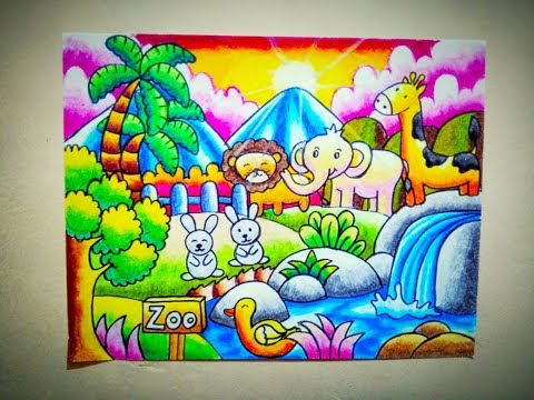 How To Draw Zoo Cara Mewarnai Gradasi Crayon Oilpastel Tema Kebun Binatang Youtube