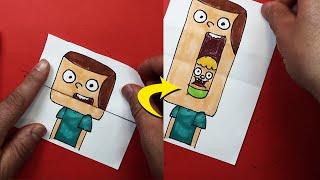 رسم جيف و كلارنس بطريقة مخيفة | تعليم الرسم للاطفال