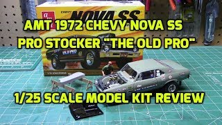 AMT 1972 Chevy Nova SS Old Pro Dragster 1/25 Scale Model Kit Build Review AMT1142