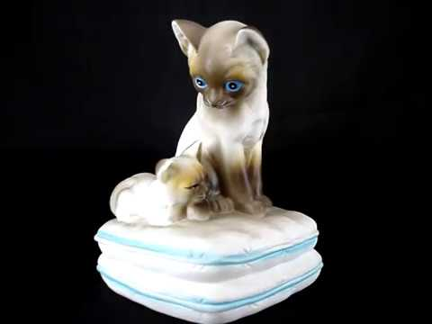 Vtg 80s Seymour Mann Music Box Siamese Cats Porcelain You Light Up My Life