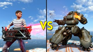 Fallout 4 - 100 KIDS vs 6 SENTRY BOTS - Battles #16