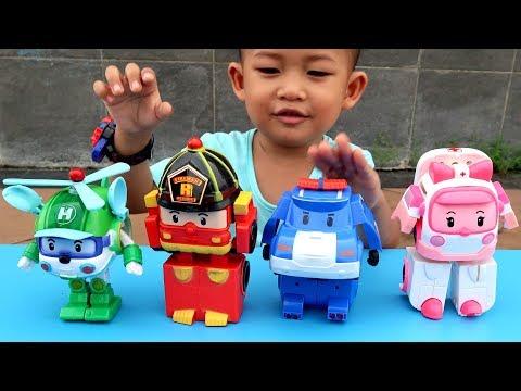 Anak Lucu Review Mainan Robocar Poli 4 Karakter - Unboxing Mainan Belajar Warna Untuk Anak