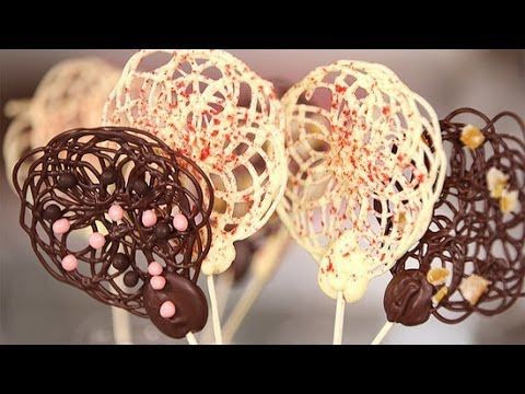 Chocolate lace lollipops that are shockingly easy to make for Chocolate lace template
