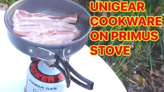 COOKING BACON ON THE PRIMUS TRAIL STOVE & UNIGEAR COOKWARE