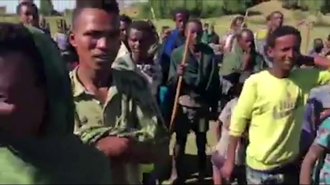 Ethiopian Prime Minister Dr Abiy Ahmed dancing with Gojjam Farmers