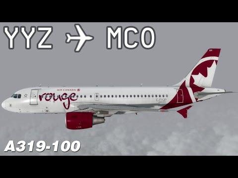 [P3D v3] Toronto to Orlando | ROU1868 | Air Canada rouge | Aerosoft Airbus A319 | IVAO