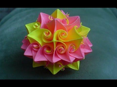 Кусудама супершар оригами Роза Курлеры Из Бумаги Декор Новогодний Шар Украшение