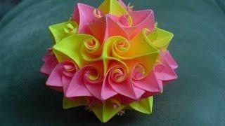 Кусудама супершар оригами Роза Курлеры Из Бумаги Декор Новогодний Шар Подарки Поделки своими руками