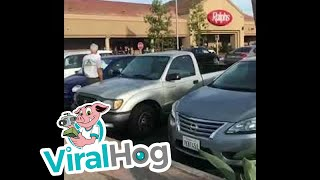 Funny Video: Crazy Elderly Driver Wrecks Car in Parking Lot