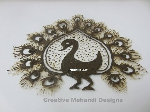 Mehndi Peacock Tattoos : Peacock bird feather henna mehndi tattoo design tutorial
