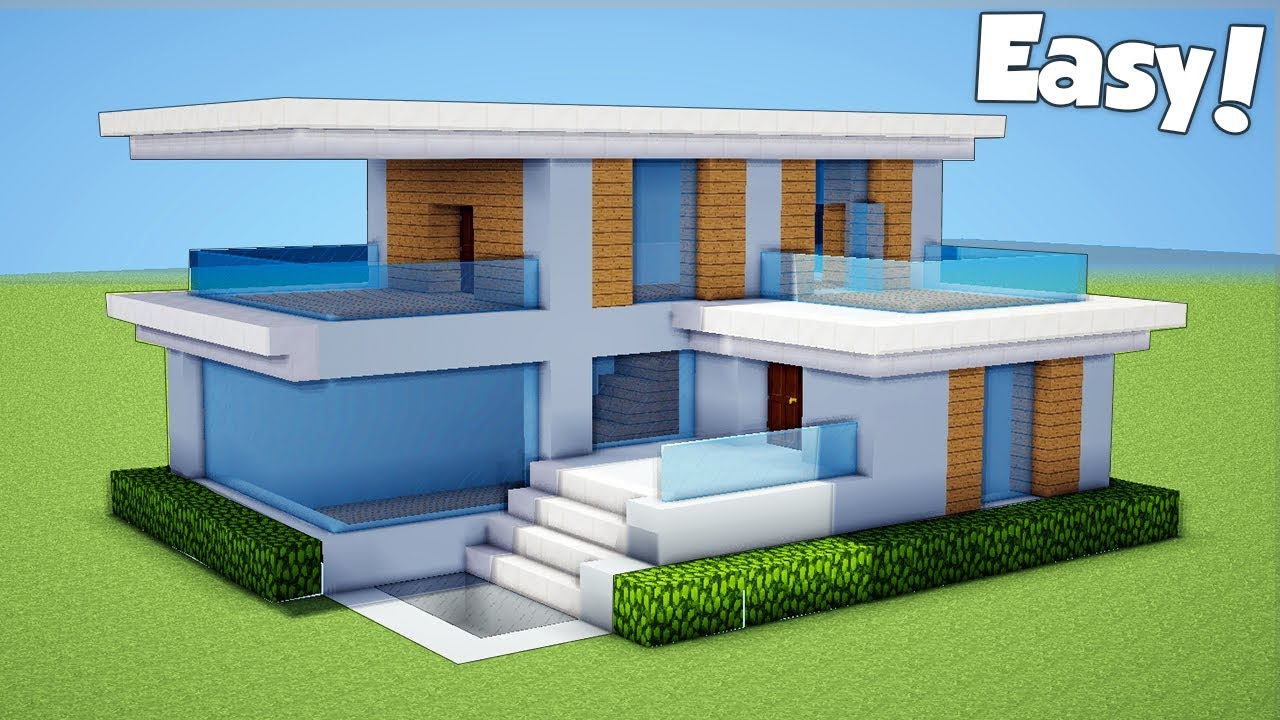 Minecraft How To Build A Small Easy Modern House Tutorial 23 Youtube