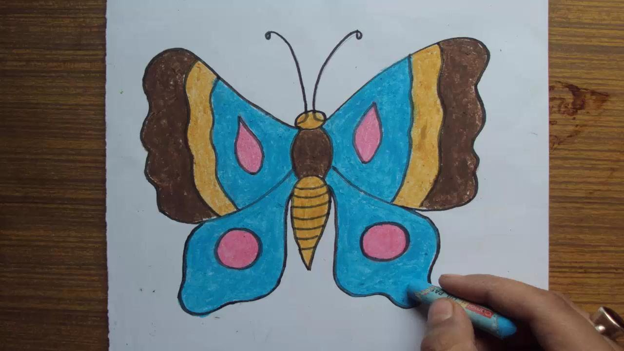 How To Draw Butterfly Step By Easy With Pastel Color