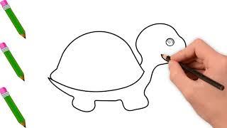 Vẽ Con Rùa - Tranh Tô Màu Cho Bé Mầm Non - Chủ Đề Các Con Vật