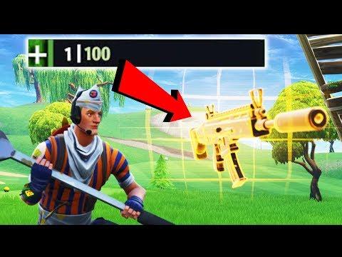 *NEW* GUN 1 HP CLUTCH WIN!!! (Fortnite Battle Royale New Weapon Gameplay) thumbnail