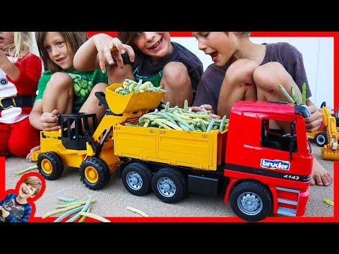 Construction Trucks For Children - Bruder Dump Truck Makes Chicken Soup