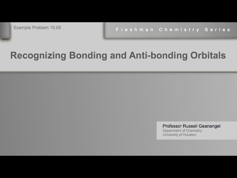 Chemistry Help Workshop 10.05: Recognizing Bonding and Anti-bonding Molecular Orbitals