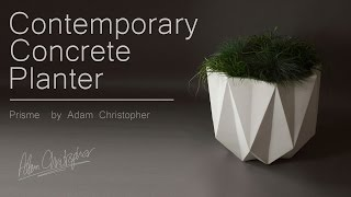 Prisme Modern Planter in White Concrete