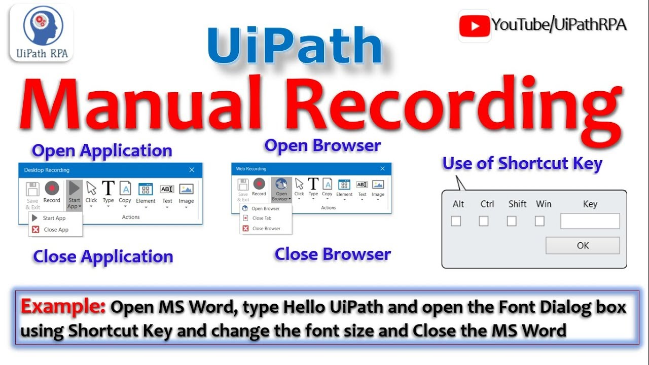 UiPath Manual Recording|Send Hotkeys|UiPath RPA Tutorial