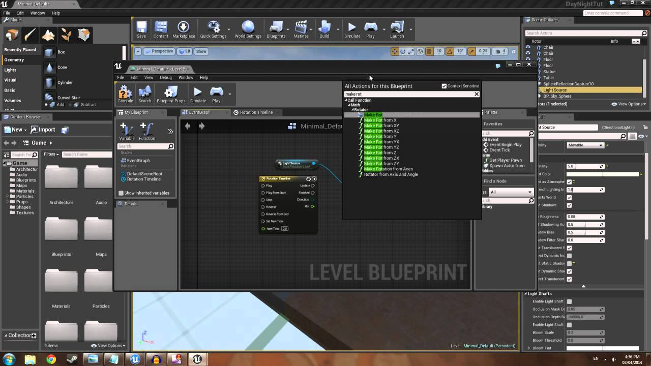 Unreal engine 4 day night cycle using blueprint youtube malvernweather Image collections