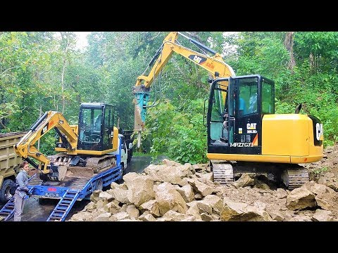 Mini Excavator CAT 305.5E2 Digging Loading Dirt Into Dump Truck SRM