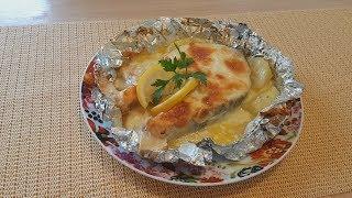 Семга в духовке со сливками и сыром в фольге
