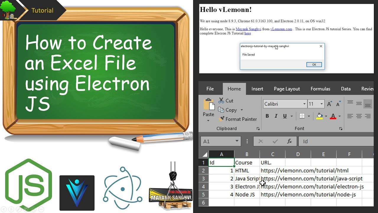 How to Create an Excel File Using Electron JS (Node js)