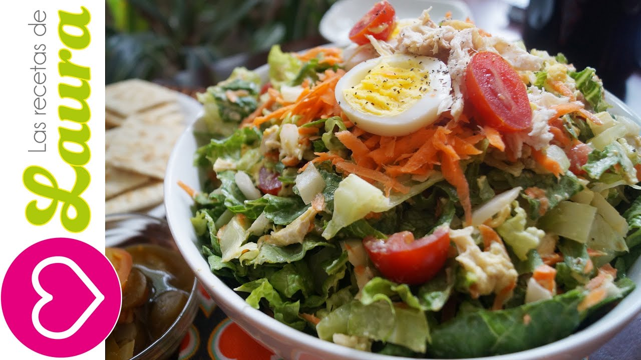Ensalada Con Pollo A La Plancha Comida Saludable Chichen Salad With Light Dressing Youtube