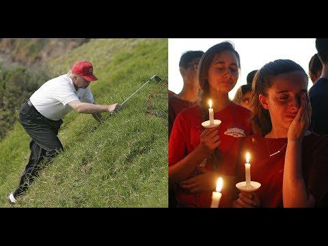 Trump Responds To Florida Shooting, Faceplants, Plays Golf