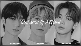 TXT Soobin, Beomgyu & Taehyun - Confession Of A Friend (cover) [Han, Rom, Eng, Indo lyrics]