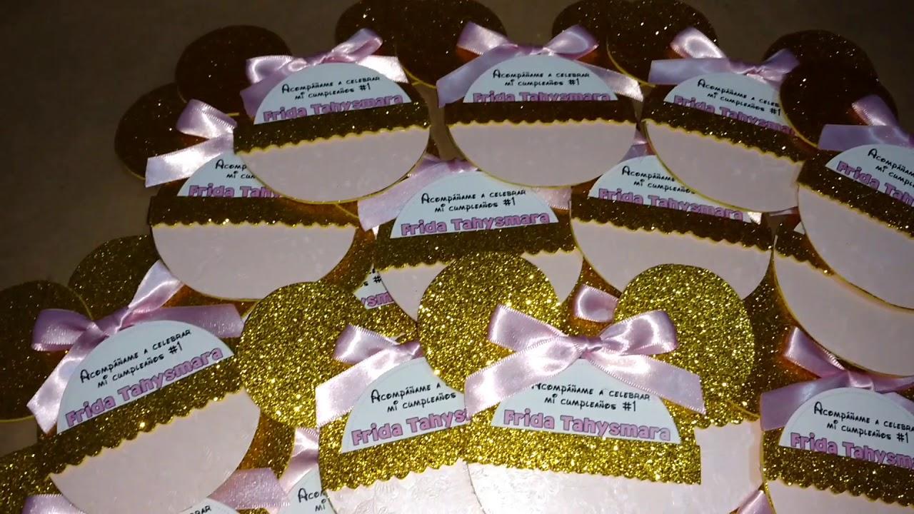 Invitaciones De Minnie Mouse Rosa Con Dorado