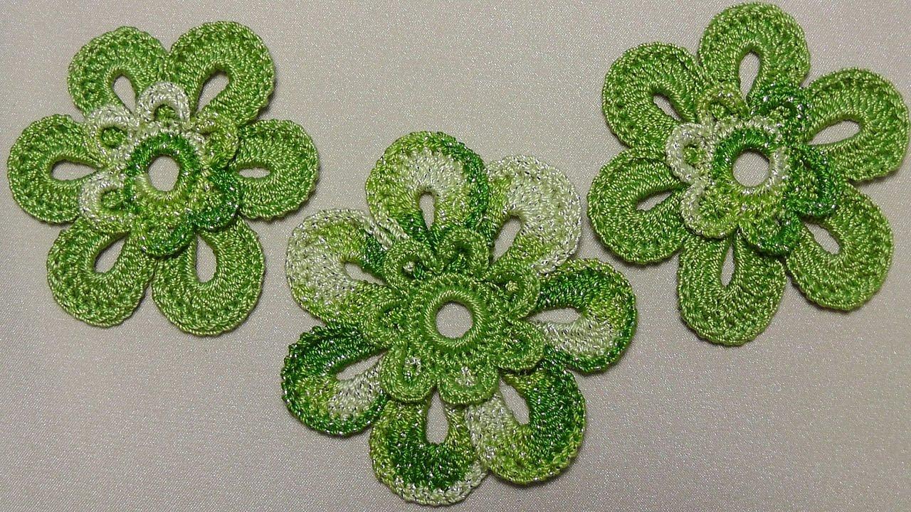 урок вязания крючком цветка двухцветного Crochet Flowers вязаные