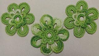Урок вязания крючком ЦВЕТКА двухцветного. Crochet Flowers. Вязаные цветы крючком