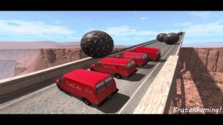 Giant Metal Balls Crushes Cars ROLLING Crashes - BeamNG.Drive