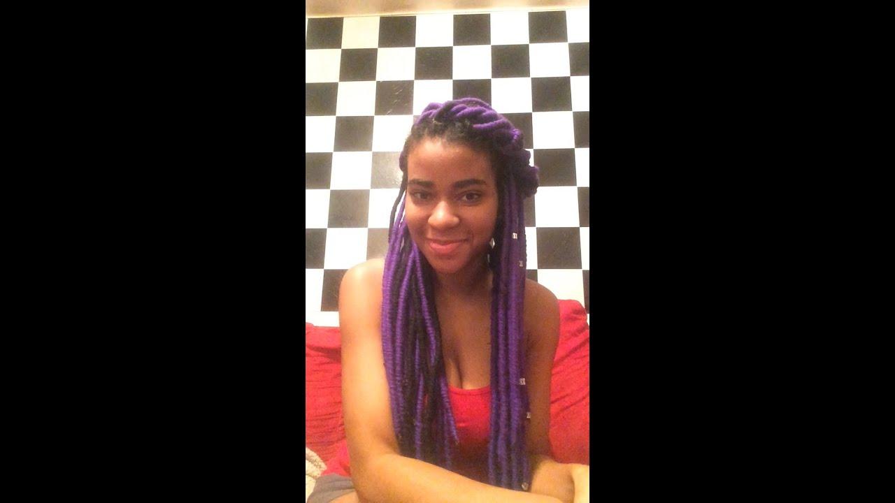 Diy How To Do Purple Faux Locs Yarn Locs Youtube