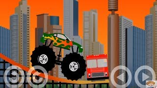 Monster Truck Destroyer - All 12 levels - Walkthrough | Car Cartoons For Children