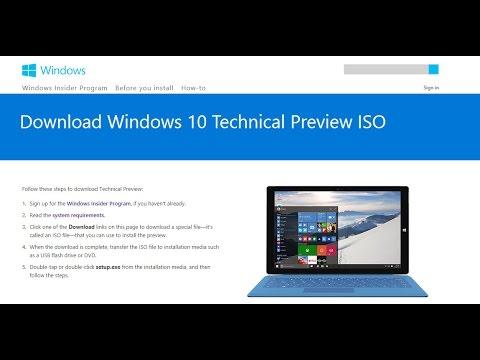 วิธีการดาวน์โหลด Windows 10 Insider Preview