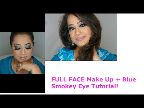FULL FACE Makeup with Blue Smokey Eye Tutorial! | Glamby Shahida