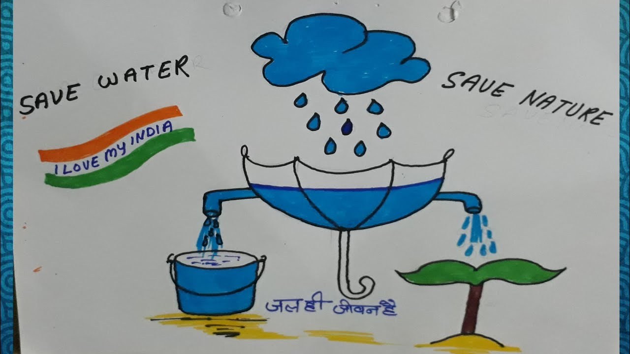 Save Water Drawing Save Water Drawing Easy Save Water Youtube