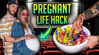 HOW TO SNEAK SNACKS INTO THE MOVIES!! (Pregnant Life Hack)