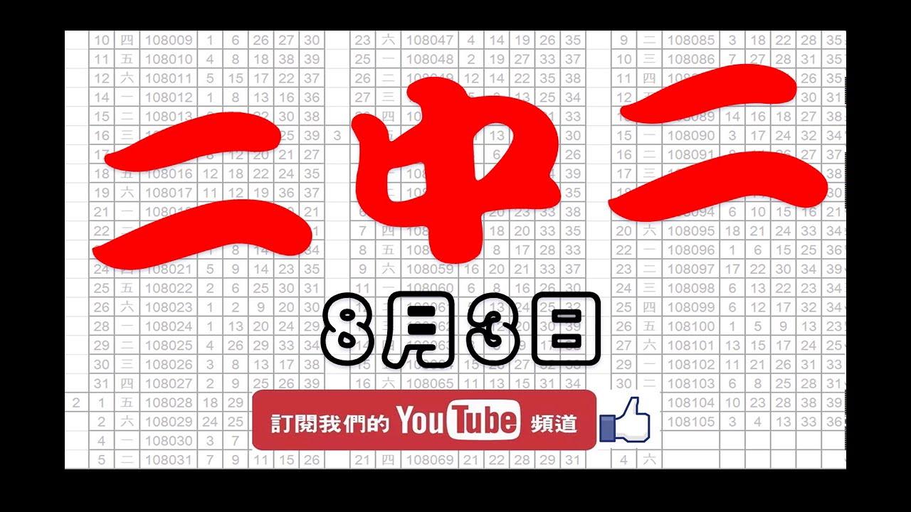 【539財神爺】 今彩539 8月3日 二中二