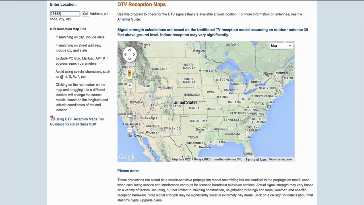 DTV Reception Map YouTube - Fcc dtv reception map